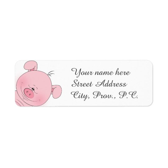Cheerful Pink Pig Cartoon Return Address Label