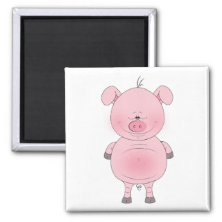 Cheerful Pink Pig Cartoon Square Magnet
