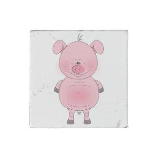 Cheerful Pink Pig Cartoon Stone Magnet