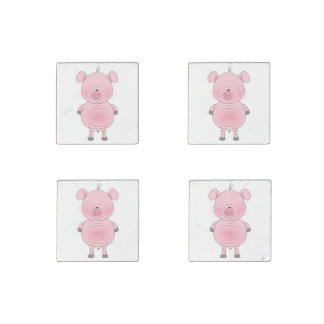 Cheerful Pink Pig Cartoon Stone Magnet