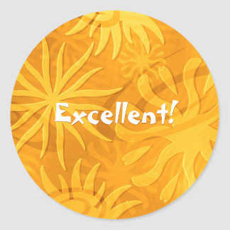 cheerful positive abstract sun shapes orange gold classic round sticker