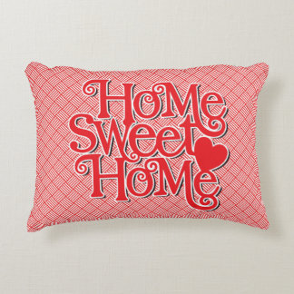 Cheerful Red Home Sweet Home Throw Pillow