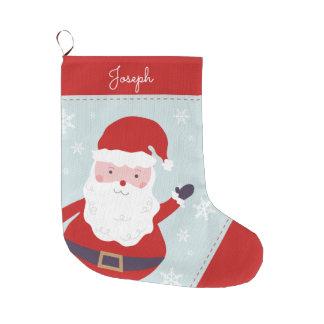 Cheerful Santa Large Christmas Stocking