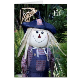 Cheerful Scarecrow in Blue Fall Card