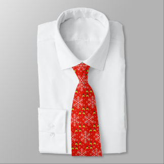 Cheerful Snowflakes and Christmas Bells on Red Bac Tie