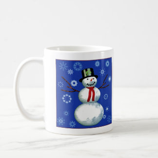 cheerful snowman in top hat classic white coffee mug