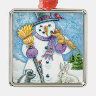 Cheerful snowman metal ornament