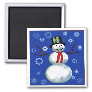 cheerful snowman on blue with snowflakes fridge magnet