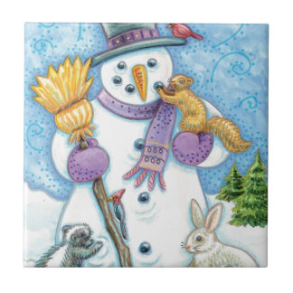 Cheerful snowman small square tile