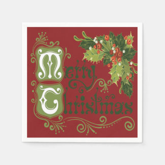 Cheerful Sprigs of Holly in Red Background Disposable Serviettes