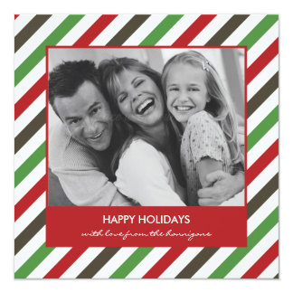 """Cheerful Stripe Christmas Card/Holiday Photo Cards 5.25"""" Square Invitation Card"""