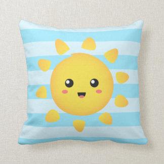 Cheerful sun that shines brightly all around cushion