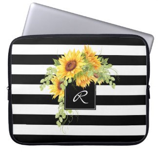 Cheerful Sunflowers and Stripes with Monogram Computer Sleeve