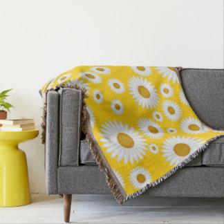 cheerful sunny yellow white daisy throw blanket