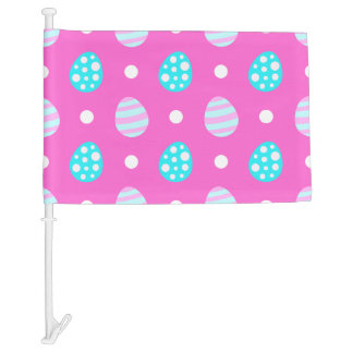 Cheerful sweet pink colorful easter eggs pattern car flag