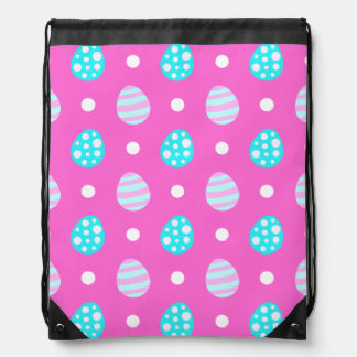 Cheerful sweet pink colorful easter eggs pattern drawstring bag