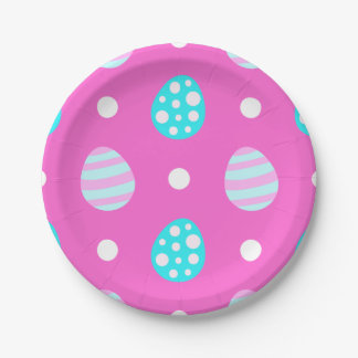 Cheerful sweet pink colorful easter eggs pattern paper plate