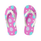 Cheerful sweet pink colourful easter eggs pattern kid's thongs