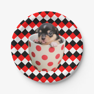 Cheerful Teacup Puppy on Red Black and White Paper Plate