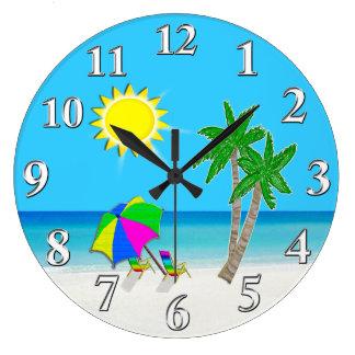 Cheerful Turquoise Wall Clocks Beach Theme