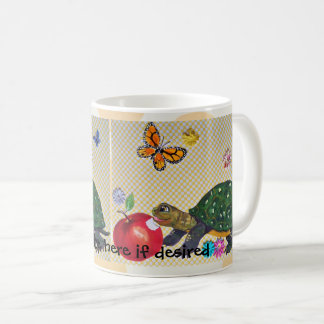 Cheerful Turtle Mug Butterfly, Apple, Personalize