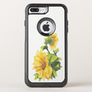 Cheerful Watercolor Sunflower Flowers art OtterBox Commuter iPhone 8 Plus/7 Plus Case