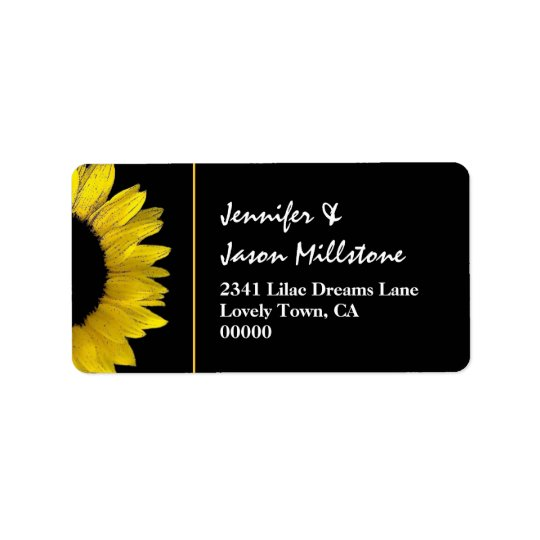 Cheerful Yellow and Black Sunflower Modern Wedding Address Label