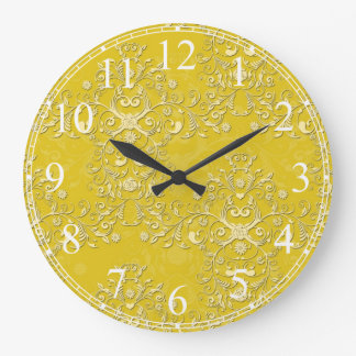 Cheerful Yellow Floral Damask Clocks