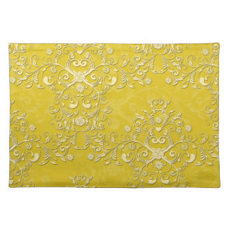 Cheerful Yellow Floral Damask Placemat