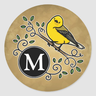 Cheerful Yellow Prothonotary Warbler with Monogram Classic Round Sticker