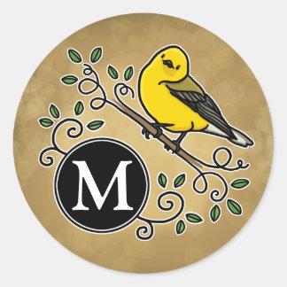 Cheerful Yellow Prothonotary Warbler with Monogram Round Sticker
