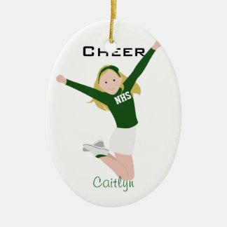 Cheerleader Blonde Green & White Ceramic Ornament