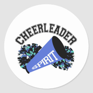 Cheerleader Blue Classic Round Sticker