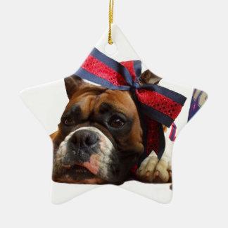 Cheerleader boxer dog ceramic ornament