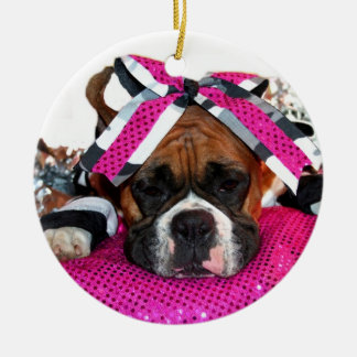 Cheerleader Boxer dog ornament