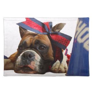 Cheerleader boxer dog place mats