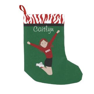 Cheerleader Brunette in Red & Black Small Christmas Stocking