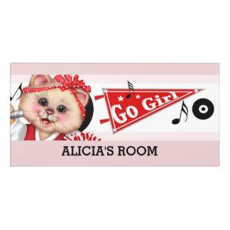 CHEERLEADER CAT DOOR SIGN  Classic Room Sign