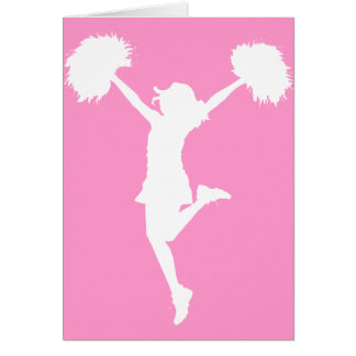 Cheerleader Cheering with Customizable Background Card