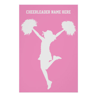Cheerleader Cheering with Customizable Background Poster