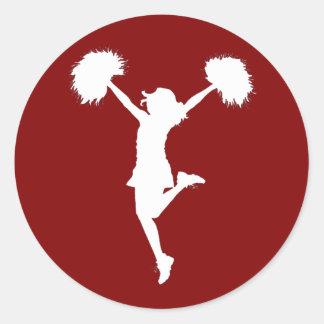 Cheerleader Cheerleading Outline Art by Al Rio Round Sticker