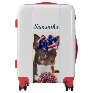 Cheerleader Chihuahua personalized luggage