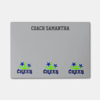 Cheerleader coach gray personalized post it notes