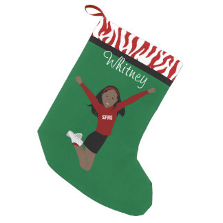 Cheerleader Dark Black Hair in Red & Black Small Christmas Stocking