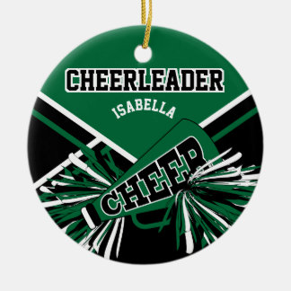 Cheerleader -Dark Green, Black and White Ceramic Ornament