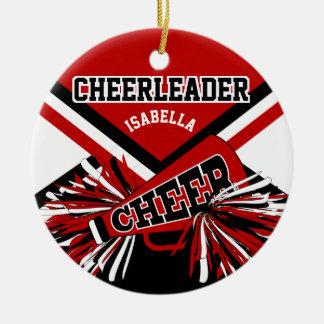 Cheerleader - Dark Red, Black and White Ceramic Ornament
