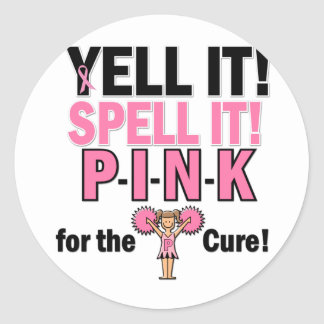 Cheerleader For Breast Cancer Awareness Round Sticker