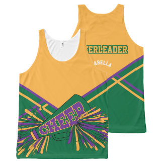 Cheerleader -Gold, Green & Purple All-Over Print Singlet