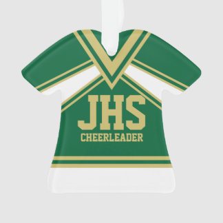 Cheerleader Green and Gold with Varsity Letters Ornament