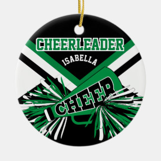 Cheerleader - Green, Black and White 2 Ceramic Ornament